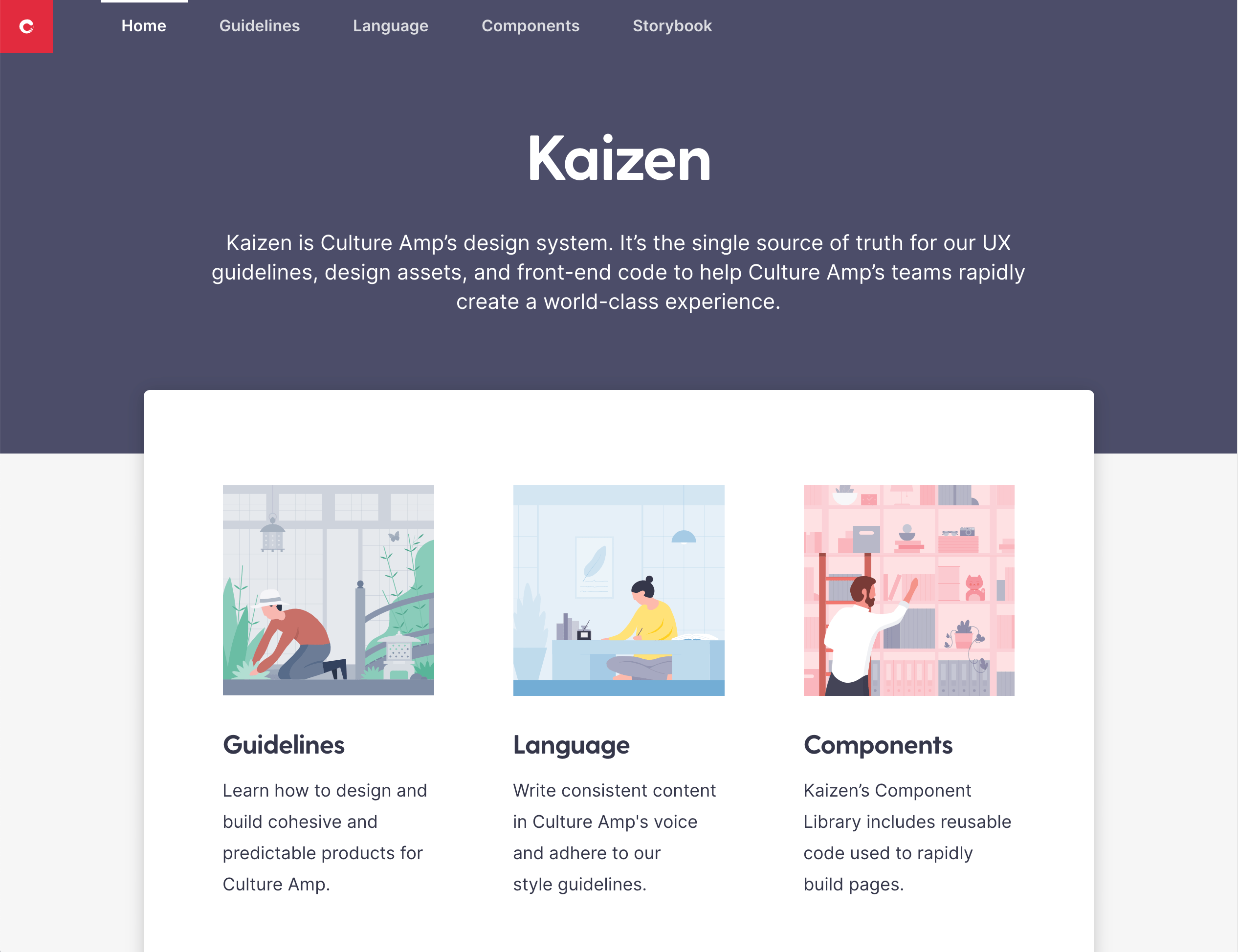 Kaizen design system homepage with a visual overview to Guidelines, Language, and Components, as well as link to Storybook.